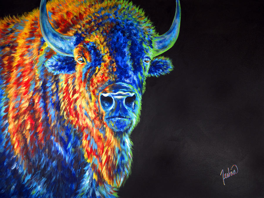 Buffalo Painting - Daybreaker by Teshia Art