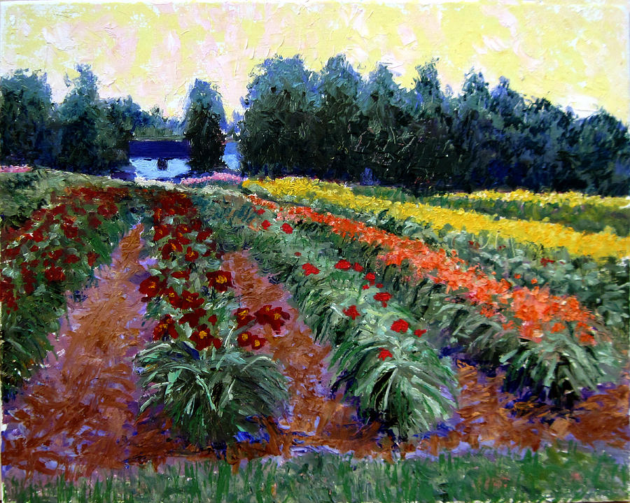 Landscape Paintings Painting - Daylily Delight by David Zimmerman