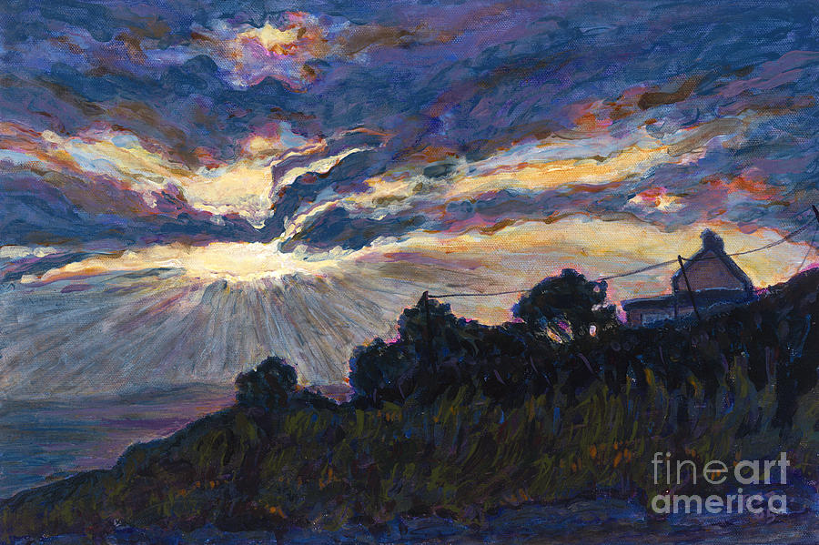 Sunset Painting - Days End - Dingle Bay by Betsee  Talavera