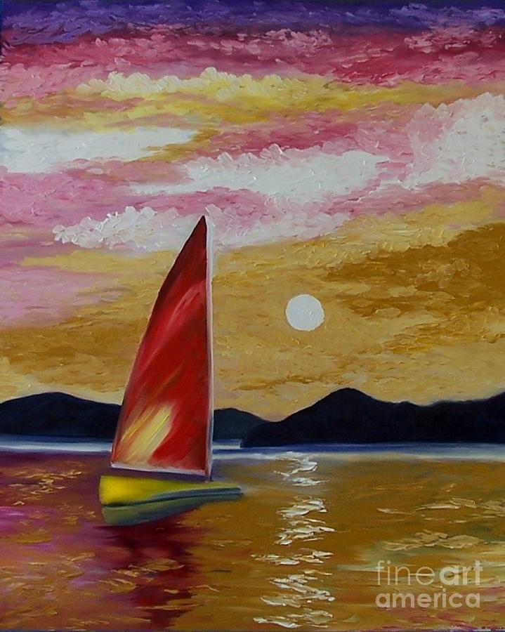 Sunset Painting - Days End by Peggy Miller