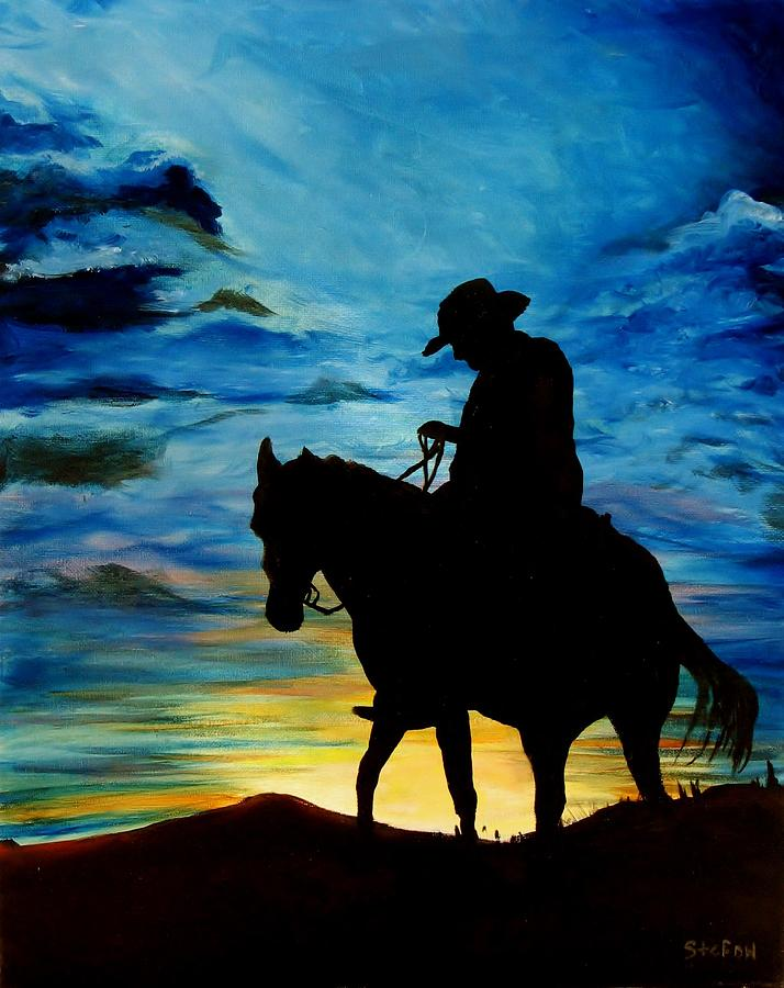 Cowboy Painting - Days End by Stefon Marc Brown