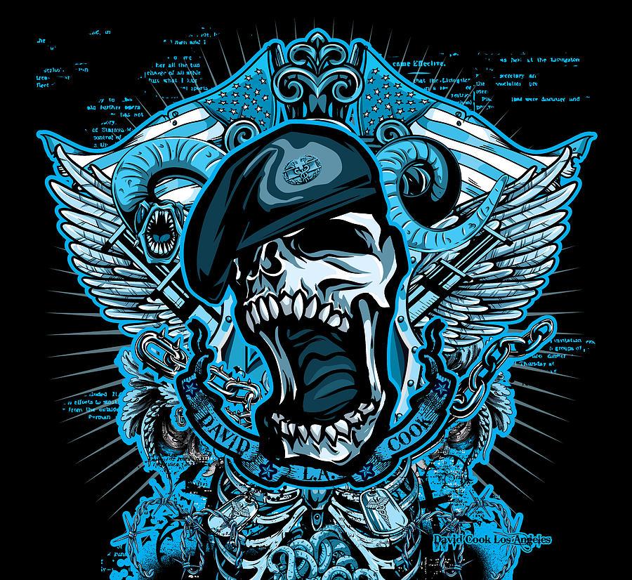Molan Labe Digital Art - Dcla Designed Skull Combat Medic by David Cook Los Angeles