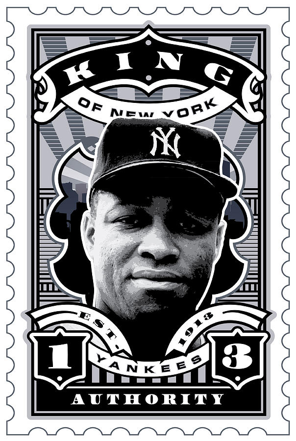 Babe Ruth Baseball Card Digital Art - Dcla Elston Howard Kings Of New York Stamp Artwork by David Cook Los Angeles