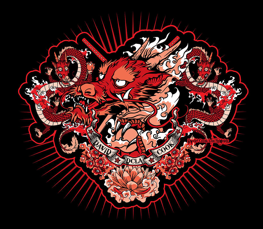 Dcla japanese dragon artwork digital art by david cook los for Japanese dragon painting