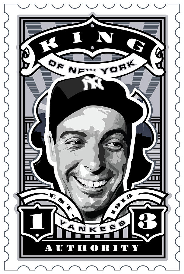 Babe Ruth Baseball Card Digital Art - Dcla Joe Dimaggio Kings Of New York Stamp Artwork by David Cook Los Angeles