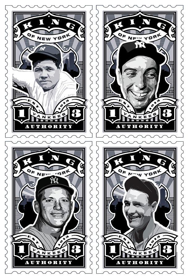 Babe Ruth Baseball Card Digital Art - Dcla Kings Of New York Combo Stamp Artwork 1 by David Cook Los Angeles