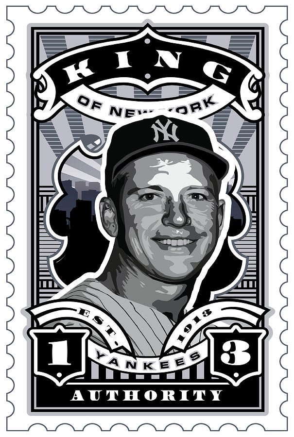 Babe Ruth Baseball Card Digital Art - Dcla Mickey Mantle Kings Of New York Stamp Artwork by David Cook Los Angeles