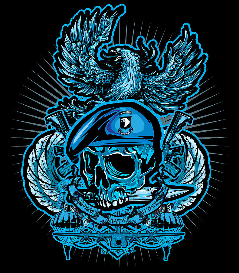 Soldiers Cross Digital Art - Dcla Skull Airborne All The Way by David Cook Los Angeles