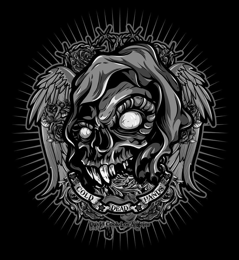 Molan Labe Digital Art - Dcla Skull Cold Dead Hand Gray 3 by David Cook Los Angeles