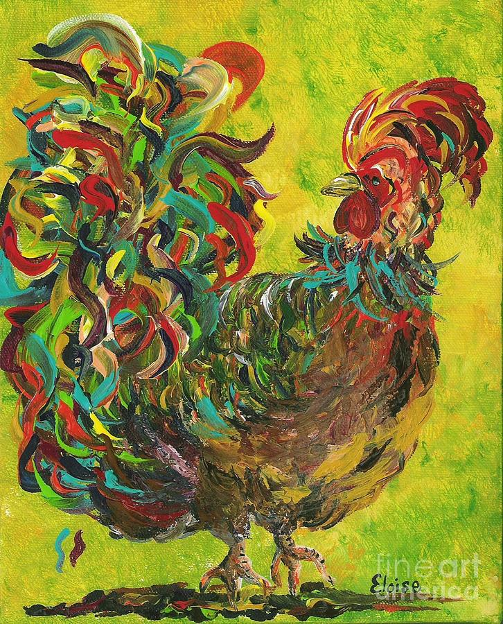 Rooster Painting - De Colores Rooster #2 by Eloise Schneider