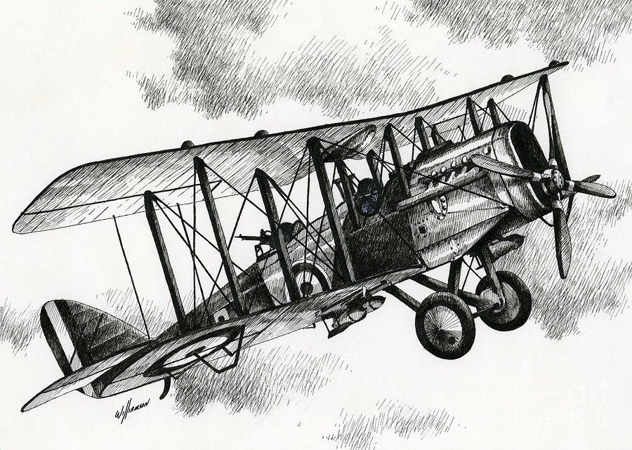 Rolls Royce Drawing - De Havilland Airco Dh.4 by James Williamson