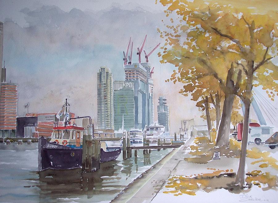 New Skyscraper The Rotterdam At The River Maas Painting - De Maas At Kop Van Zuid by Dick Carlier