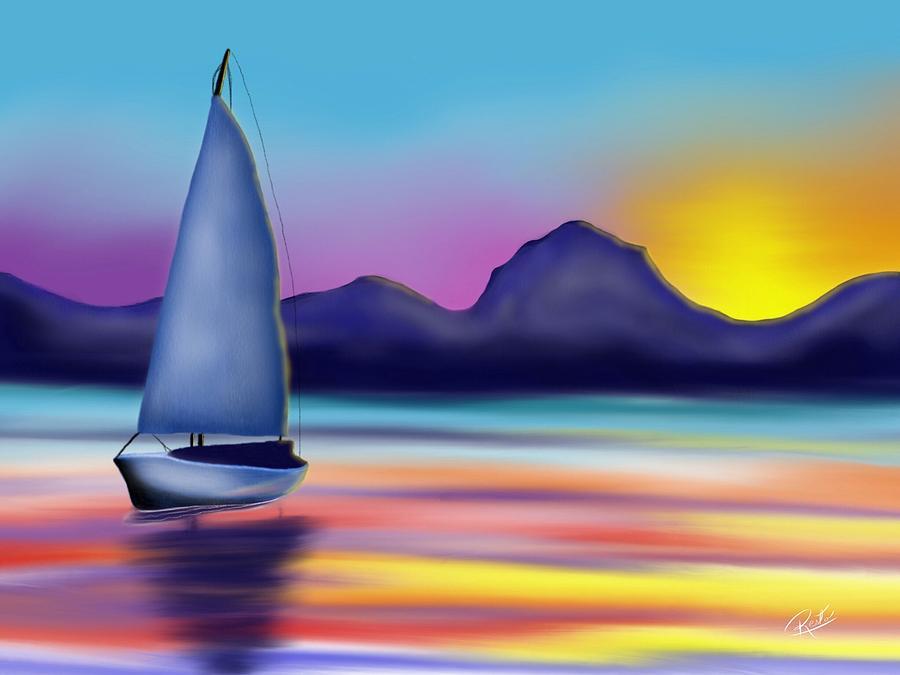 Boat Digital Art - Dead Calm by Edgardo Rodriguez
