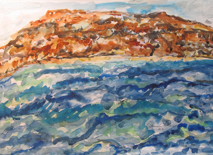 Waterscape Painting - Dead Sea Reflections by Esther Newman-Cohen