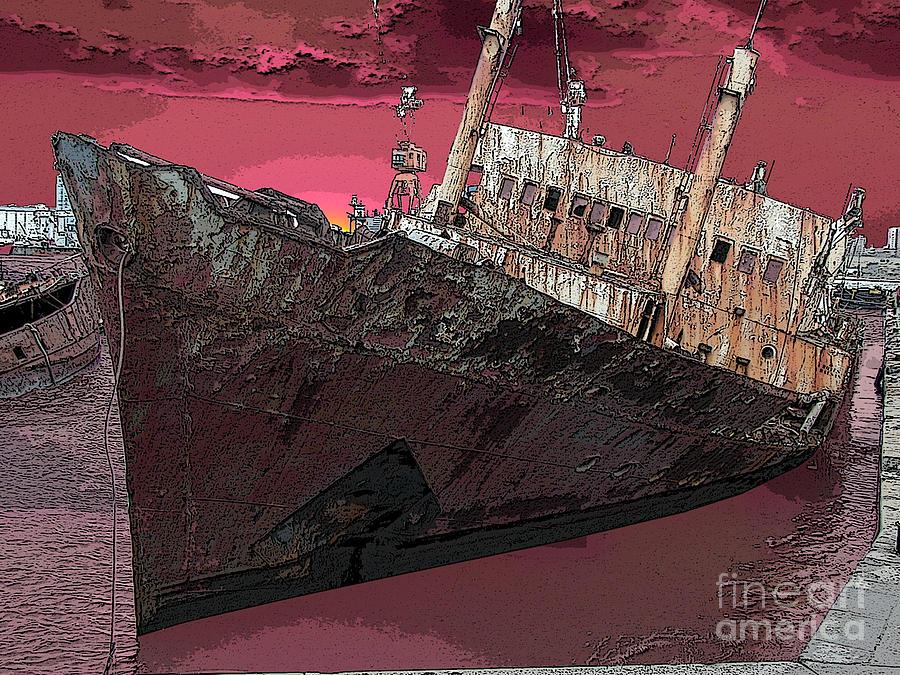 Ship Digital Art - Dead Ship 3 by Gustavo Mazzoni