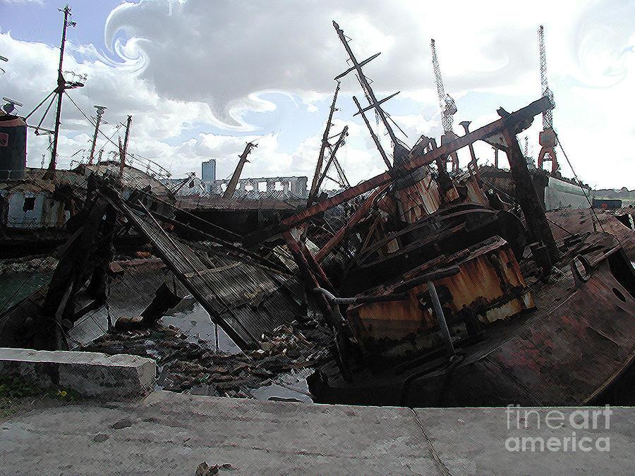 Ship Digital Art - Dead Ship 4 by Gustavo Mazzoni