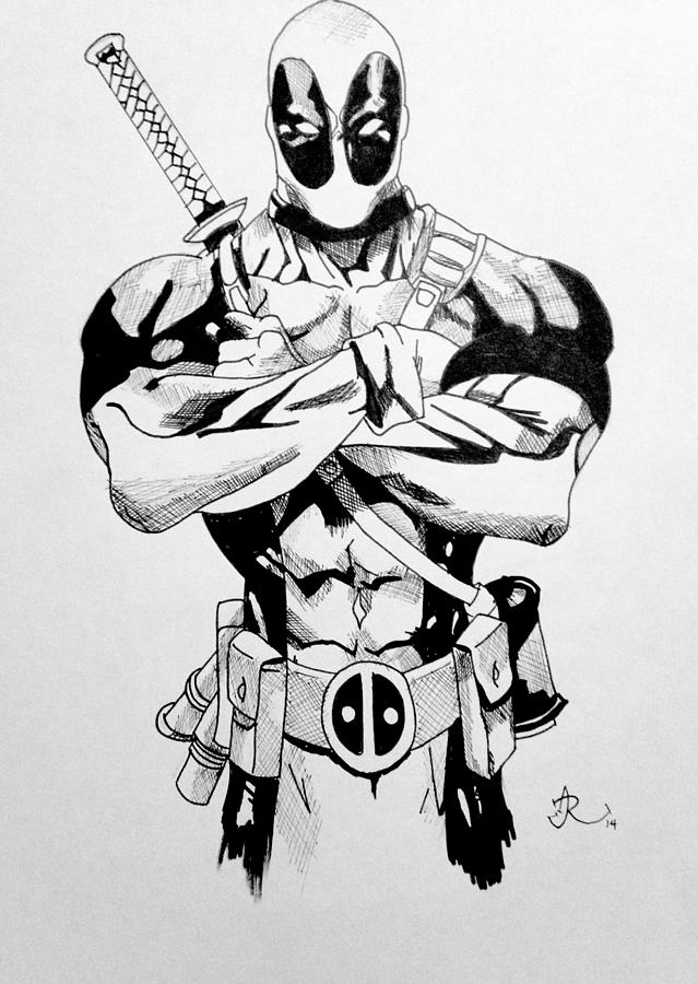 Cartoon drawing deadpool blackn white by ichiamary ruiz