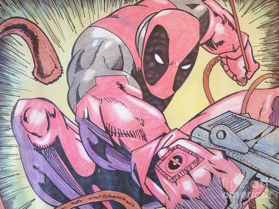 Deadpool Drawing - Deadpool by Damion Powell