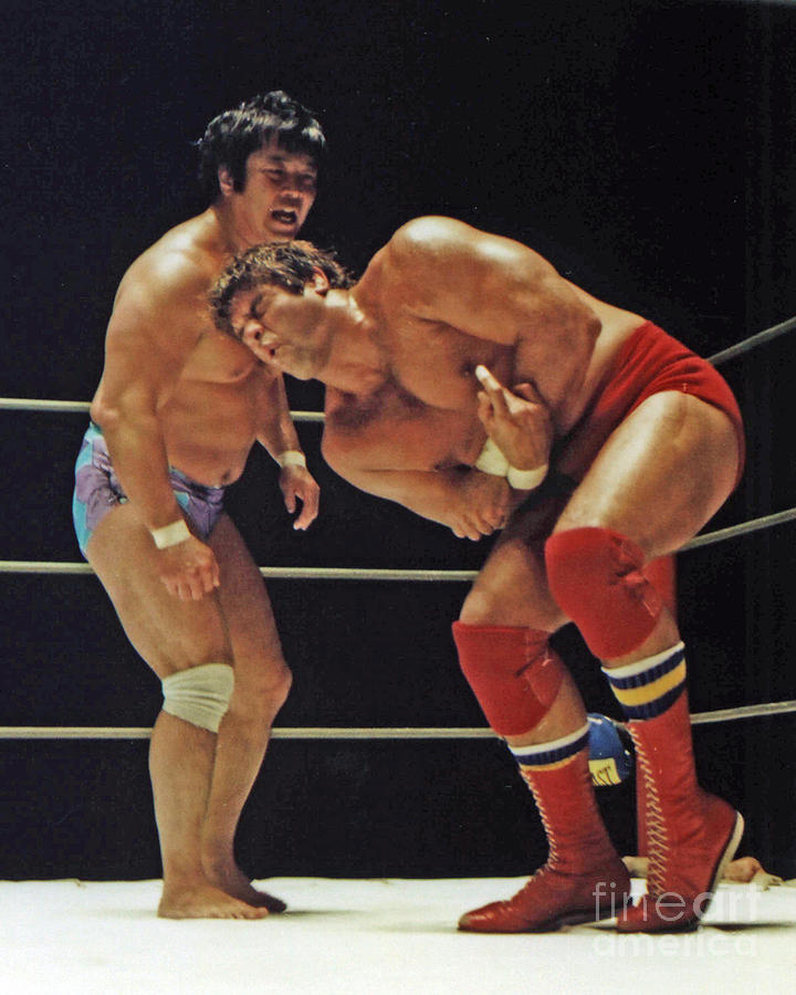 Old School Wrestling Photograph - Dean Ho Vs Don Muraco In Old School Wrestling From The Cow Palace by Jim Fitzpatrick