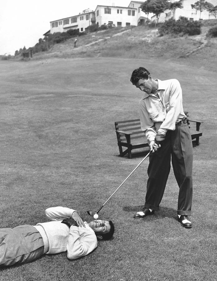 1953 Photograph - Dean Martin & Jerry Lewis Golf by Underwood Archives