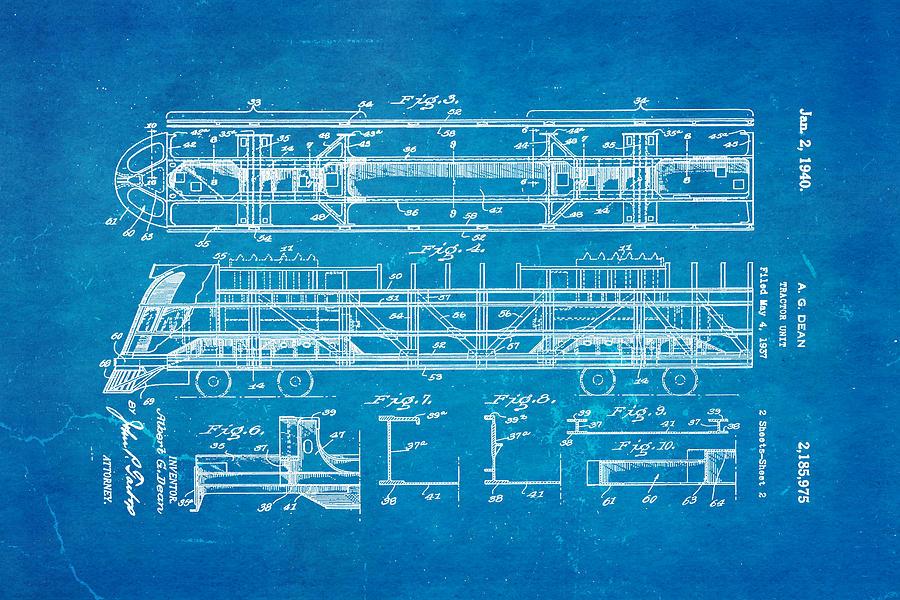 Dean train tractor unit 2 patent art 1940 blueprint photograph by engineer photograph dean train tractor unit 2 patent art 1940 blueprint by ian monk malvernweather Choice Image