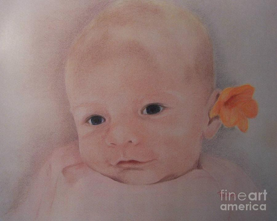 Portrait Of A Baby Drawing - Dear One by Mary Lynne Powers