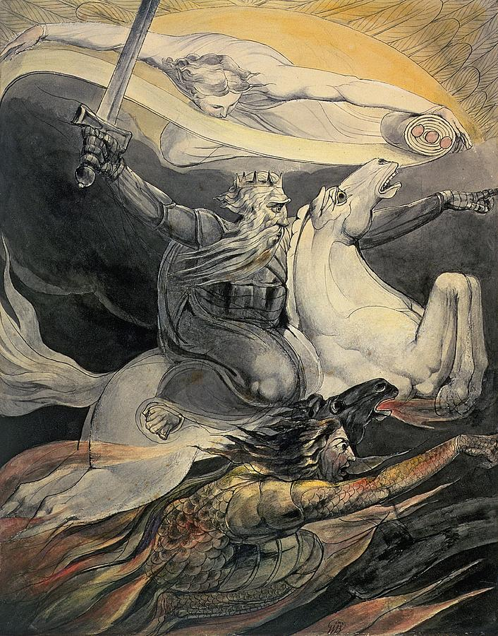 Angel Of Death Painting - Death On A Pale Horse, C.1800 by William Blake