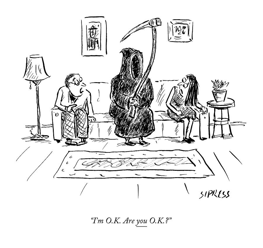Death Sits On The Couch Between A Husband Drawing by David Sipress