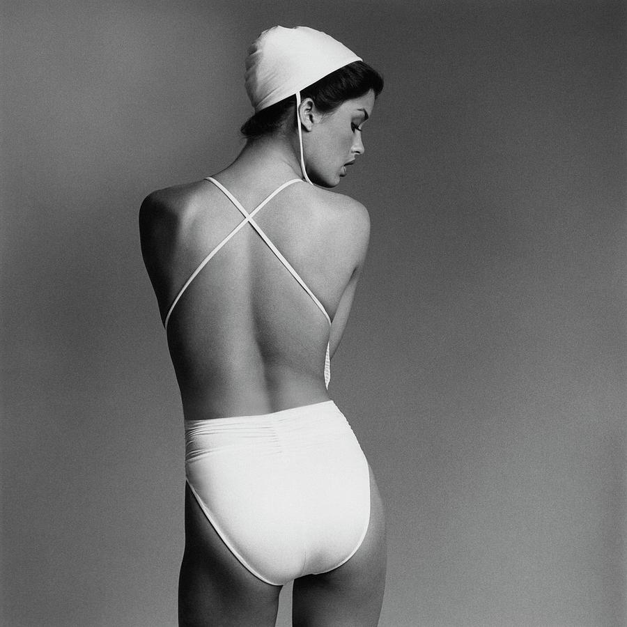 Debbie Dickinson Wearing A Kamali Bathing Suit Photograph by Francesco Scavullo