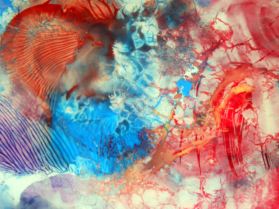 Decalcomaniac Painting - Decalcomaniac Colorfield Abstraction Without Number by Otto Rapp