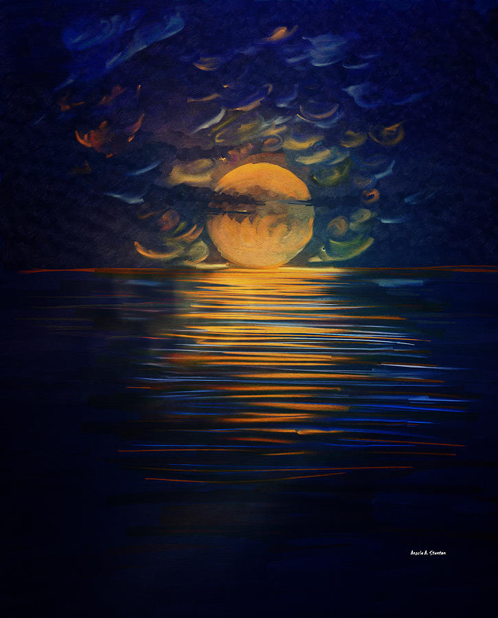 Canvas Acryllic Painting Full Moon Over Water