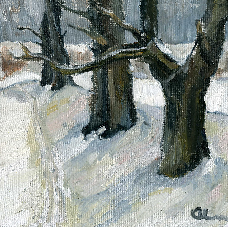 Nature Painting - December Oaks by Lelia Sorokina