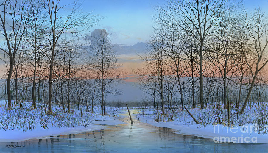 Winter Painting - December Solitude by Mike Brown