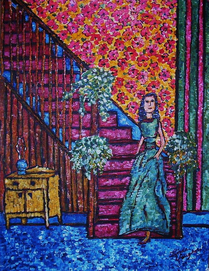 Decending Staircase Painting by Linda Vaughon