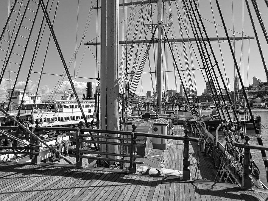 Balclutha Photograph - Deck Of Balclutha 3 Masted Schooner - San Francisco by Daniel Hagerman
