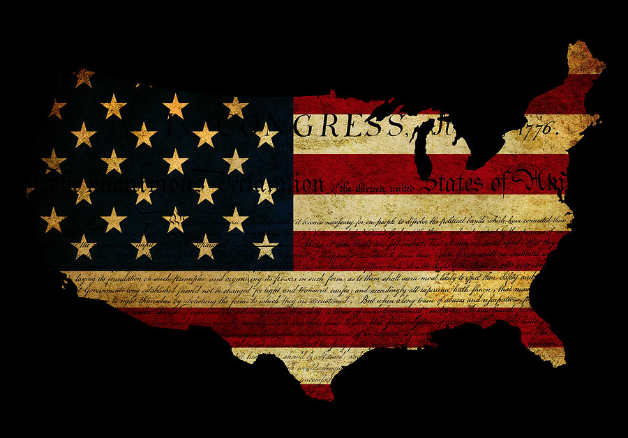 Usa Photograph - Declaration Of Independence Grunge America Map Flag by Matthew Gibson
