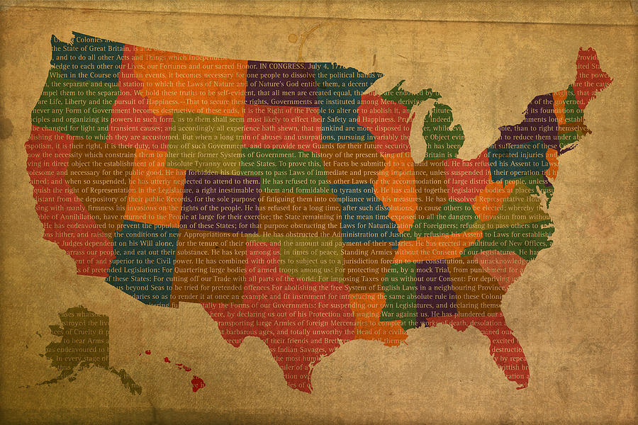 Declaration Mixed Media - Declaration Of Independence Word Map Of The United States Of America by Design Turnpike