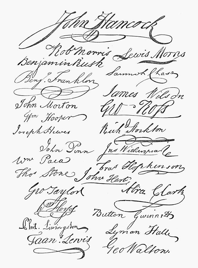 1776 Photograph - Declaration: Signatures by Granger