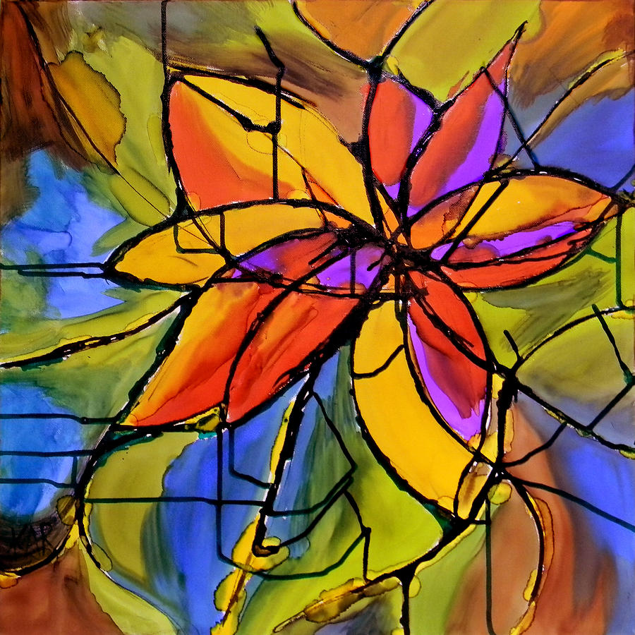 Flower Painting - Deco Abstract by Art by Kar