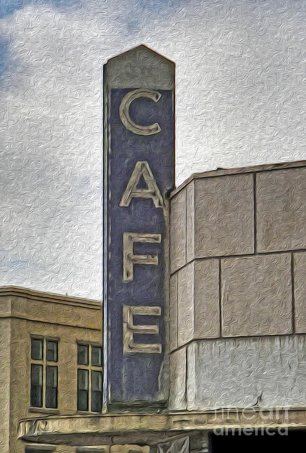 Cafe Sign Painting - Deco Cafe - 01 by Gregory Dyer