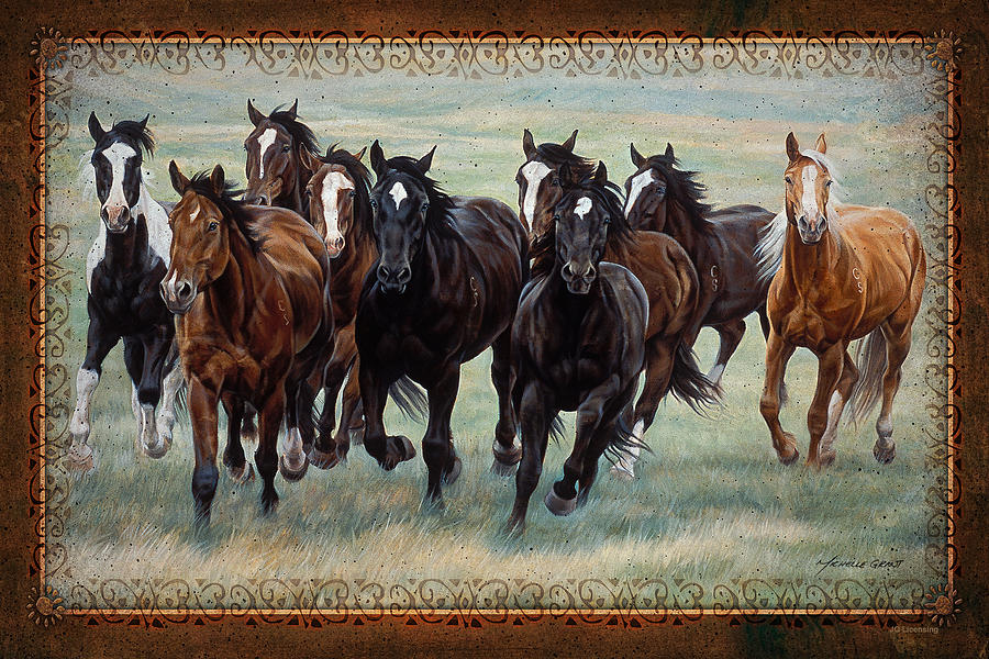 Michelle Grant Painting - Deco Horses by JQ Licensing
