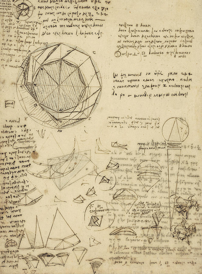 Leonardo Drawing - Decomposition Of Circle Into Bisangles From Atlantic Codex  by Leonardo Da Vinci