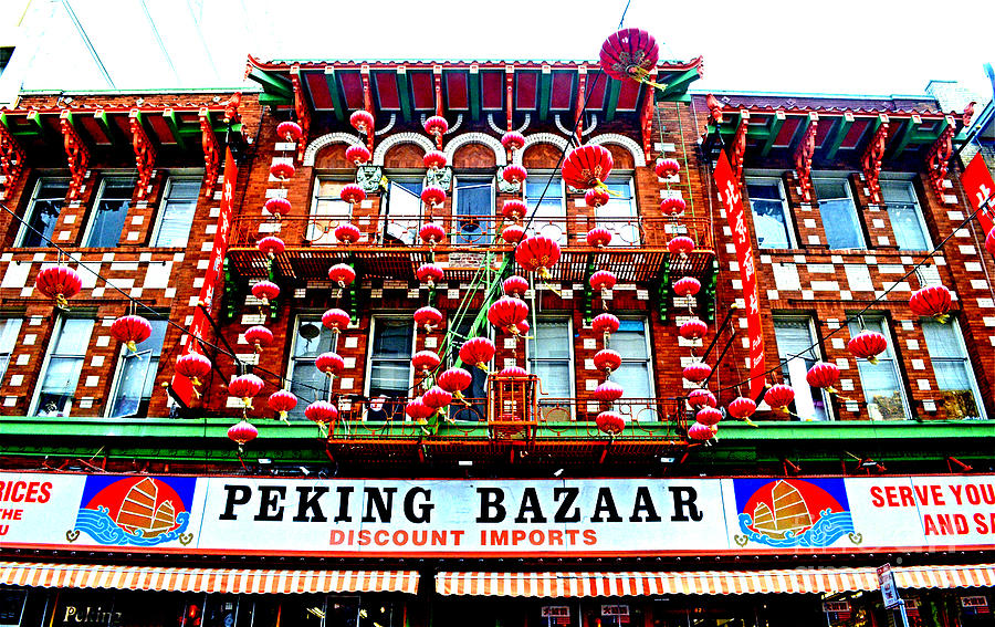 San Francisco Photograph - Decorated Building In Chinatown In San Francisco by Jim Fitzpatrick