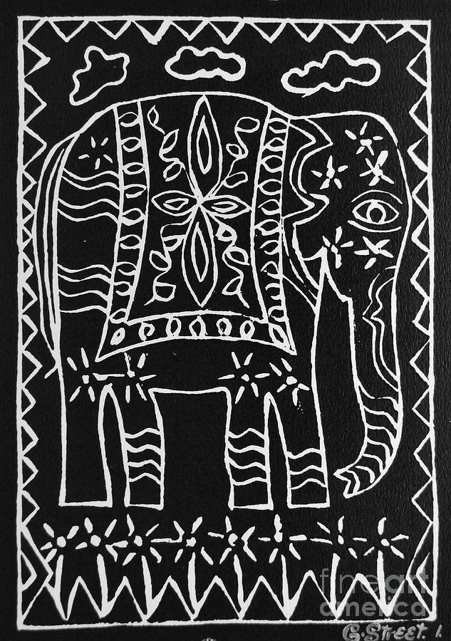 Lino Cut Relief - Decorated Elephant by Caroline Street