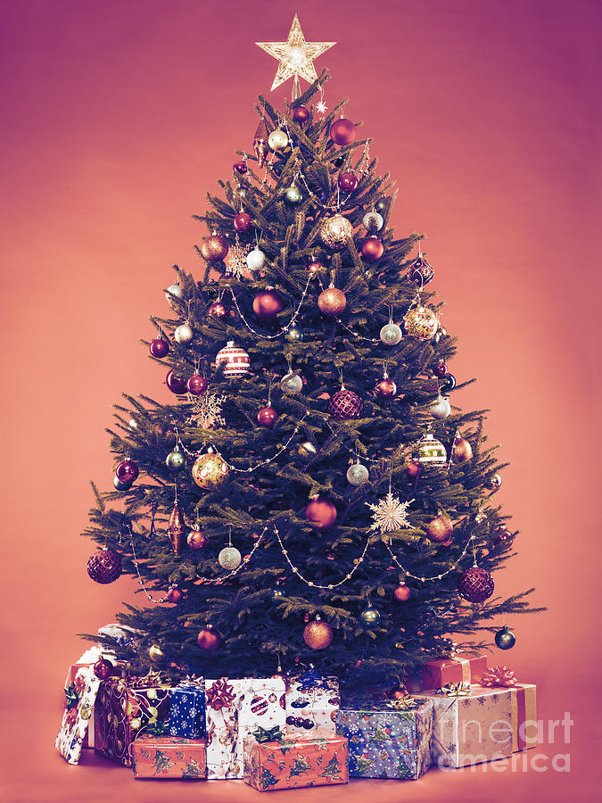 christmas tree photograph decorated vintage christmas tree with presents under it by oleksiy maksymenko