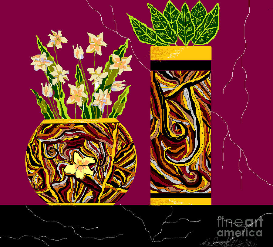 Vases Digital Art - Decorating With Style by Lewanda Laboy