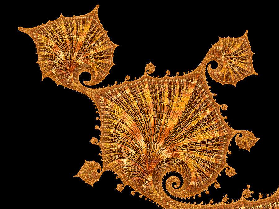 Gold Digital Art - Decorative Golden Floral Fractal Leaves by Matthias Hauser