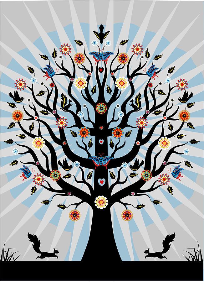 Decorative Illustrated Tree Digital Art by Suzanne Carpenter Illustration