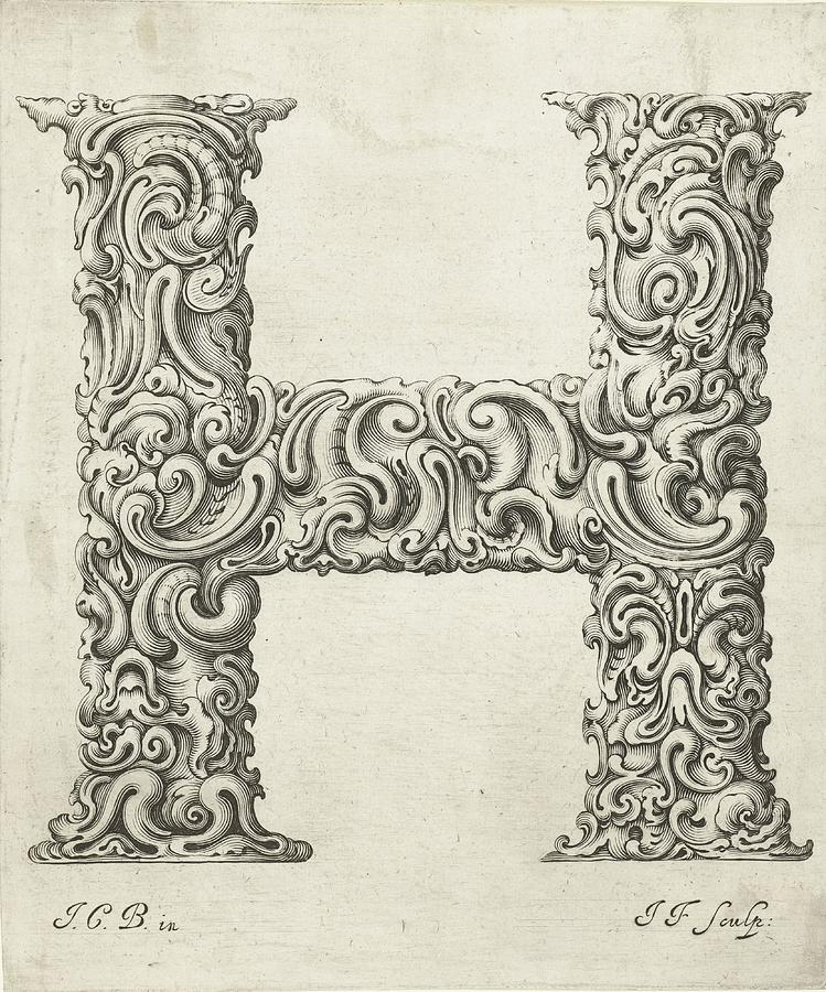 Decorative Letter Type H 1650 Photograph by Georgia Fowler