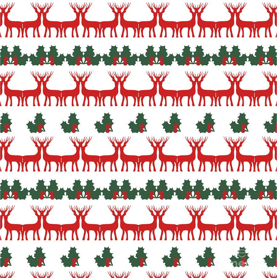 Symbol Digital Art - Decorative Reindeer Vector Pattern by Mattponchik